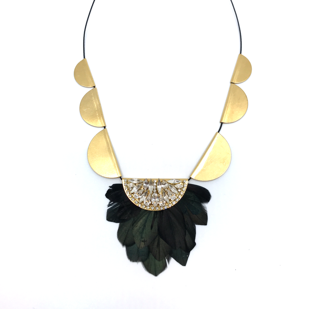 Jeweled Feather Necklace