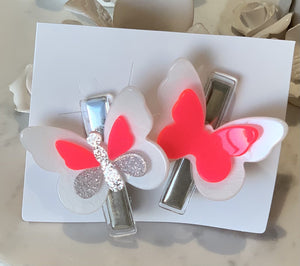 Butterfly Neon Pink Hair Clips