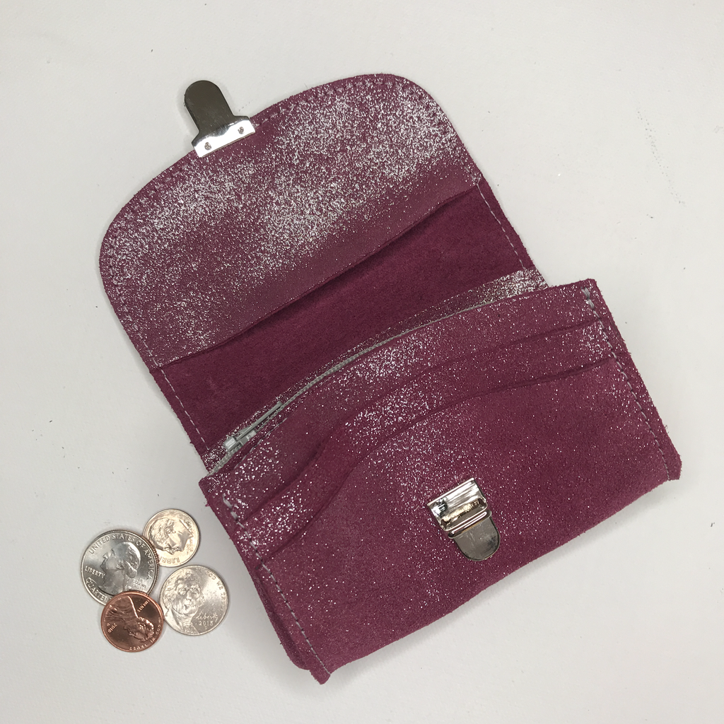 Accordion Coin Purse in Glitter Leather