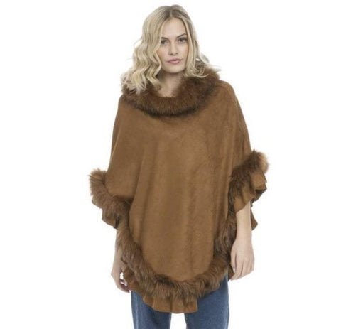 Image of Fox Fur & Suedette Poncho