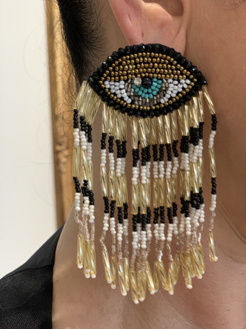 Black & Gold Evil Eye Earring