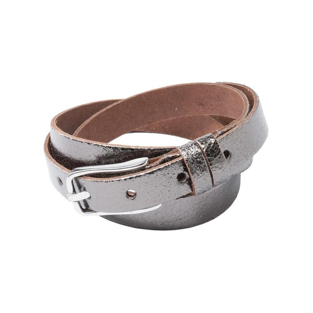 Real Leather Belt with Metallic Finish and Silver Buckle