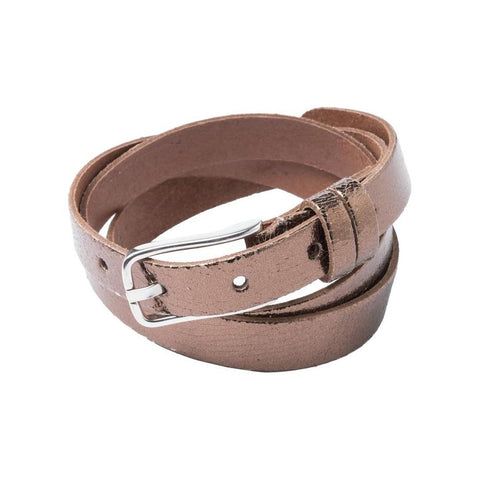 Image of Real Leather Belt with Metallic Finish and Silver Buckle