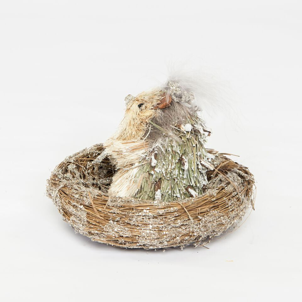 Hedgehog Nest with Gray Boa by Sherri's Design