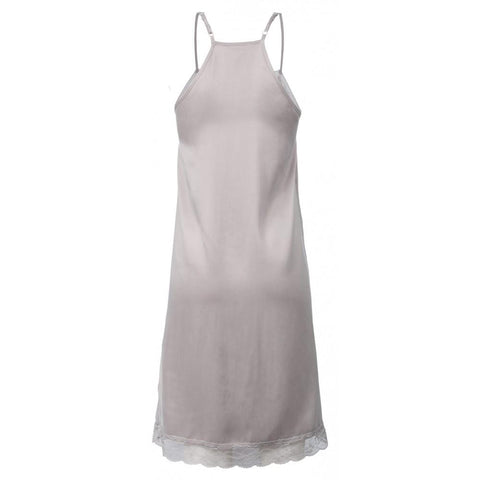 V-NECK CUPRO DRESS WITH LACE DETAILS AND ADJUSTABLE STRAPS