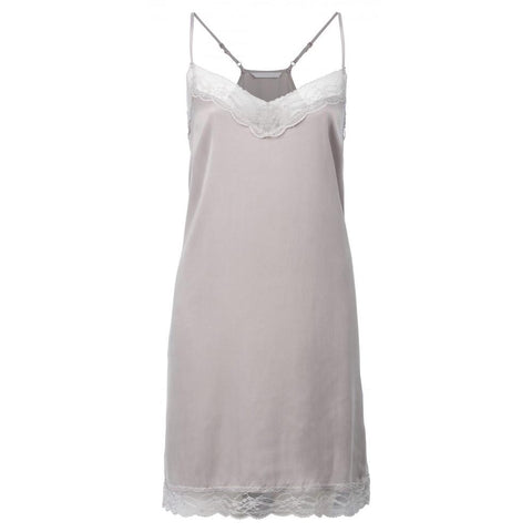 Image of V-NECK CUPRO DRESS WITH LACE DETAILS AND ADJUSTABLE STRAPS