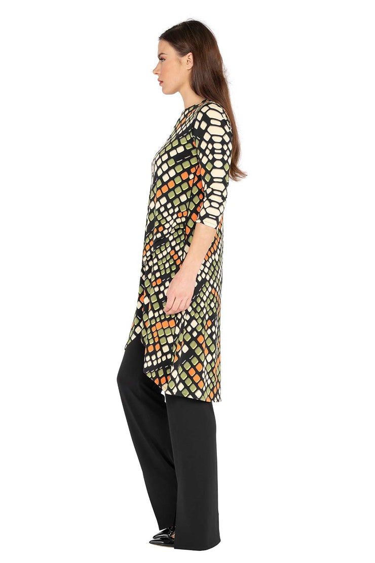 3/4 SLV Mock Wrap Long Tunic