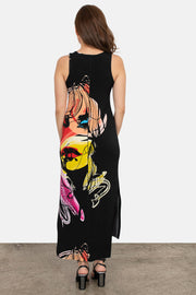 Raw Hemline Side Slit Tank Midi Dress