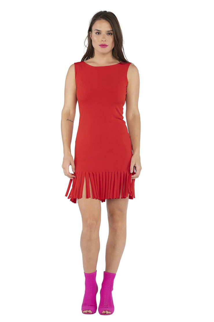 Double Layered Sleeveless Bateau Neck Fringe Dress