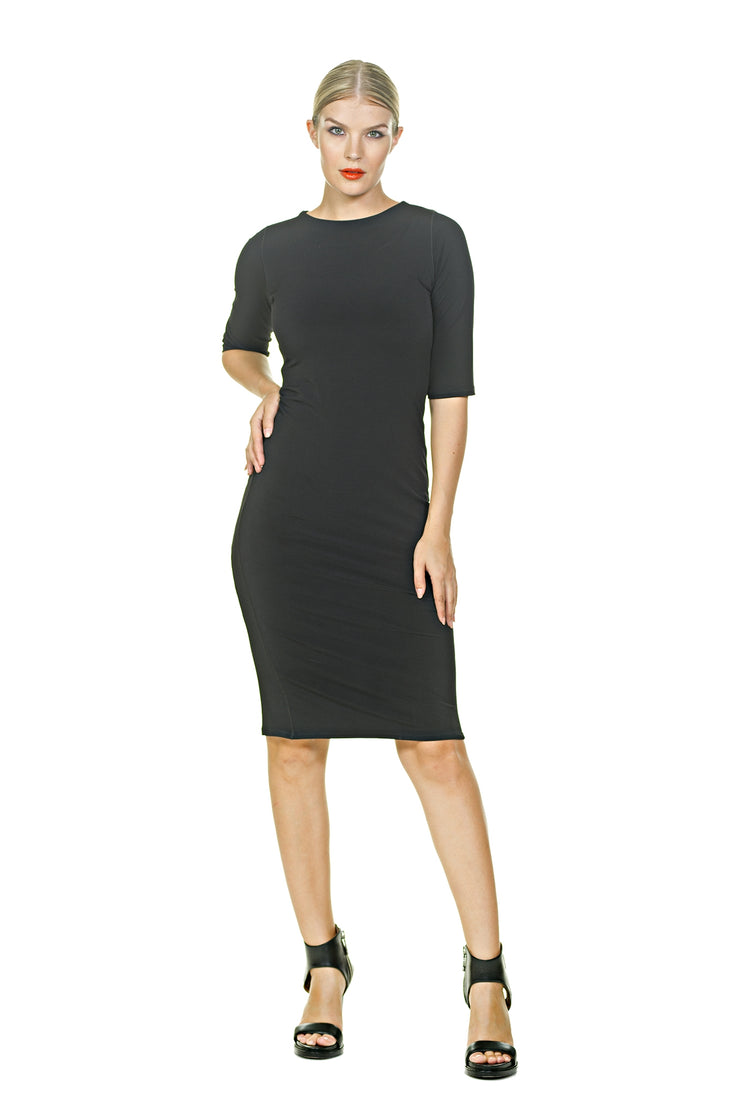 Elbow Sleeves Sheath Below Knee Dress