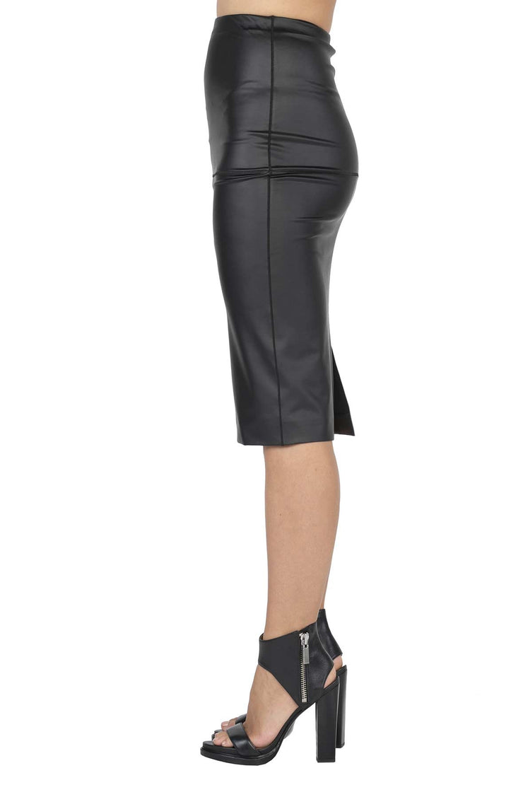 High Waist Slit Back Lined Pencil Skirt