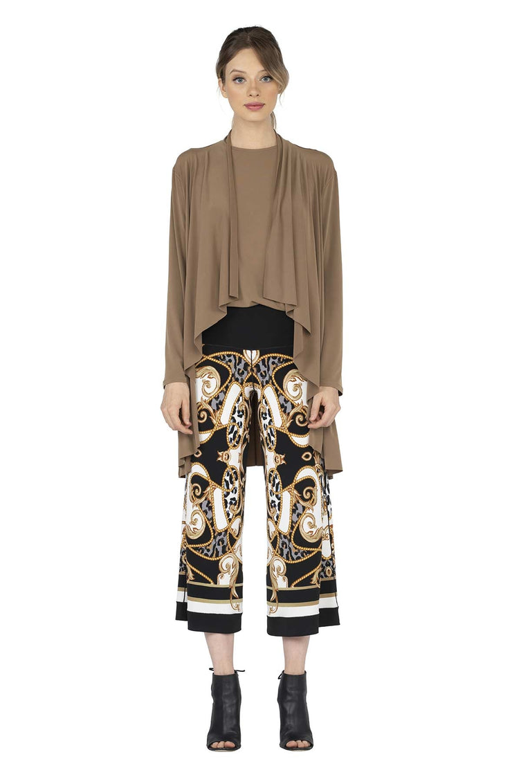 Single Layer Raw Hem Print Draped Swing Jacket