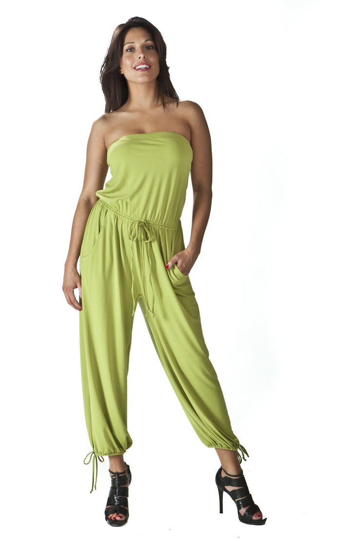 Strapless Jumpsuit with Pockets Cropped