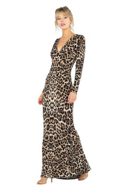 V NECK L/SLV Long Dress
