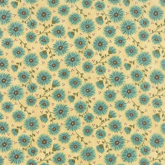 Prints Charming Cream Teal is a fun print with a buttery yellow background and turquois delicate flowers adorning it. This print reminds me of babydoll dresses and Doc Martins of the 90's. Totally romantic with hipster coolness you can't deny.