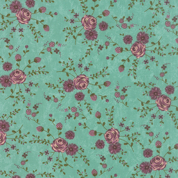 Prints Charming Teal has a rich teal background adorned with dusty rose mauve petite florals.
