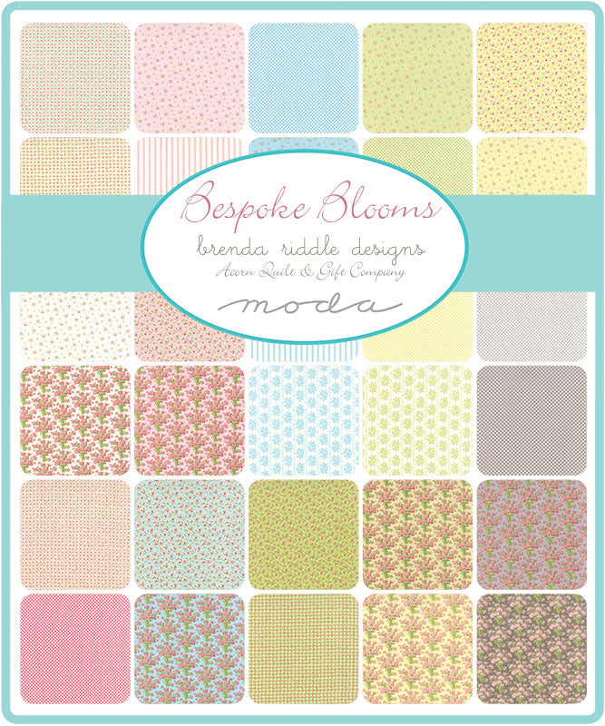 Bespoke Blooms is a sweet gentle collection of fabric designed by Brenda Riddle for Moda Fabrics.