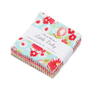 Little Ruby Mini Charm pack is cute, vintage and has robust colourfast colours of red, white, greens and turquoise.