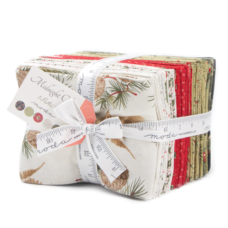 Midnight Clear Fat Quarter Bundle is 30 fat quarters of Christmas magic. Designed by 3 sisters for Moda Fabrics this bundle is a large stack of 30 fat quarter cuts from the entire collection. Enough fabric for many Christmas projects or a few Christmas Quilts.
