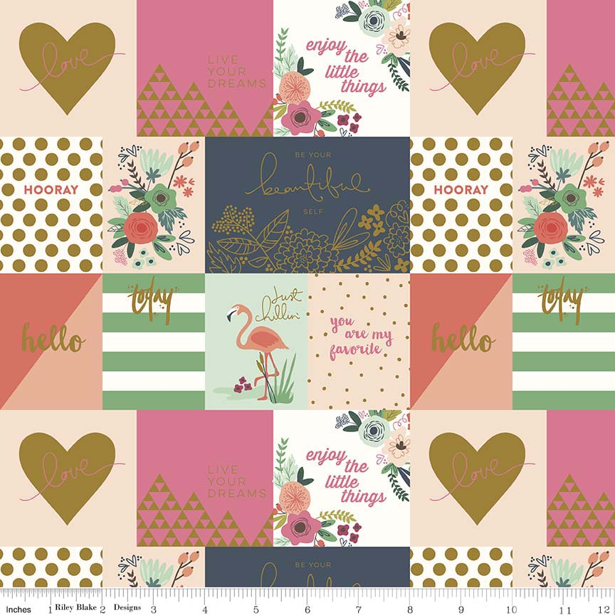 Sweet patches of candy coloured prints in pinks, navy, white and mint green adorned with hearts, flamingos and florals.