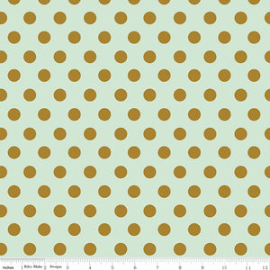 Dot mint is a sweet youthfull print with a solid mint background adorned with sparkly gold dots that are sure to delight.