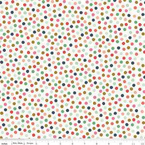 Hexy dot white is a fun fabric that reminds one of white icing with multicoloured sprinkles topping it! So fun and delicious!