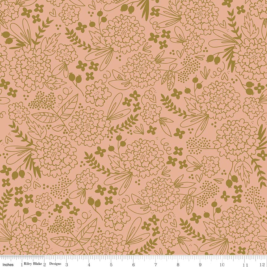Sparkle Floral Coral is a fabulous print by Jen Allyson for Riley blake that has a rich coral background adorned with rich gold florals.