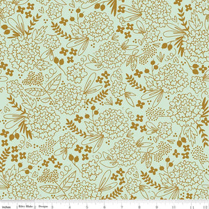 On Trend Sparkle Floral Mint is as wonderful as it looks. Mint background adorned with golden florals