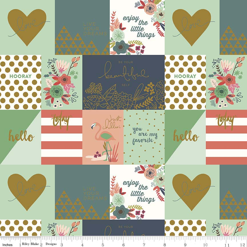 Notecard coral will remind you of the seafoam green of the water in a coral reef, bright, warm and inviting. Beautiful gold adorns this print in hearts and florals and shines like the sun off of the shimmering waves. Quilting with this fabric will keep you smiling stitch after stitch.