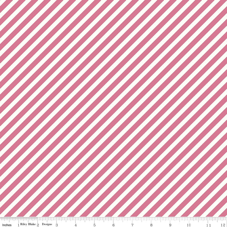 White background with Raspberry stripes diagnally going through at a 1/4 inch apart or is it visa versa? Either way this print is super sweet and is like bowl full of raspberries and fresh cream.