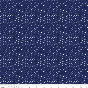 Pixie Snow Navy is like a dark snowy evening when all is quiet and you can hear the snow crunch under your feet. Rich navy background with small delicate white dots sprinkling the fabric like snowflakes in a night sky.