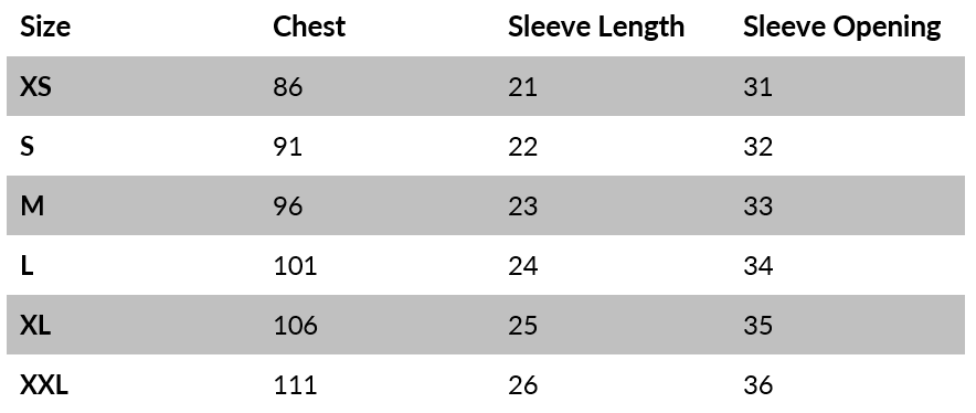 Mountain Bike Shirts Size Guide
