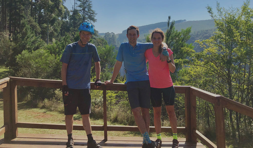 laurence, luke and georgie in front of the karkloof falls