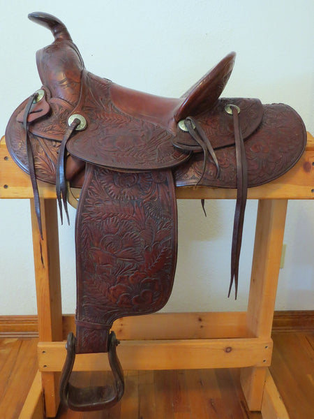 10681 Rare Collectible Vintage FM Stern Marked Floral Carved Saddle