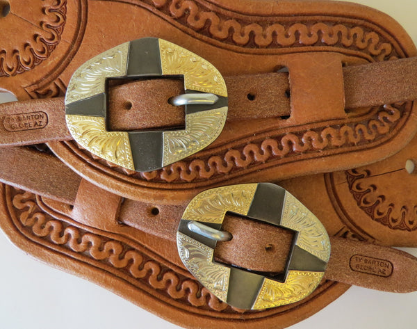 9914 New Handmade TY BARTON Rough Out Spur Straps DON ROGERS Buckles