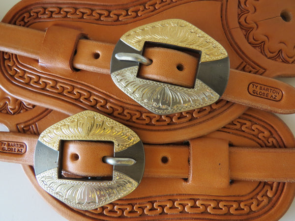 9915 New Handmade TY BARTON Pass Through Spur Straps DON ROGERS Buckles