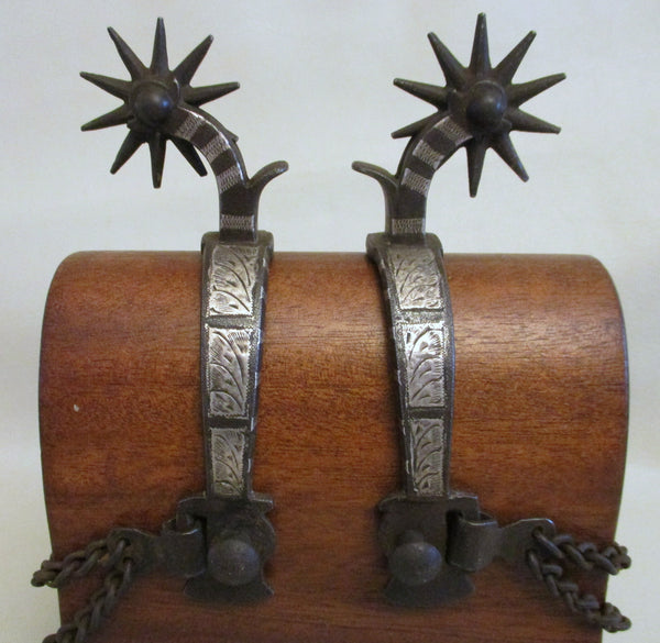 10592 Vintage Handmade Marked Hernandez Sterling Inlaid Spurs