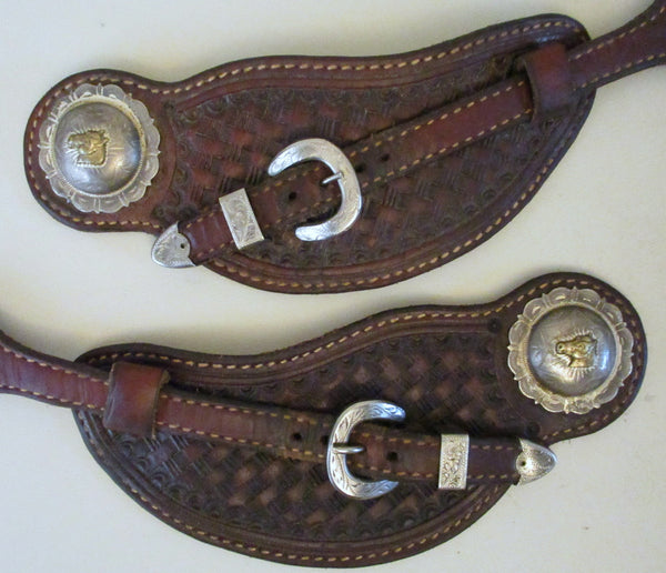 10624 Handmade Pass Through Spur Straps with Vintage Horse Head Conchos