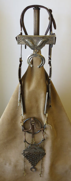 9975 Antique Vintage Early 1900's Handmade Navajo Bridle with Mexican Ring Bit Jingles