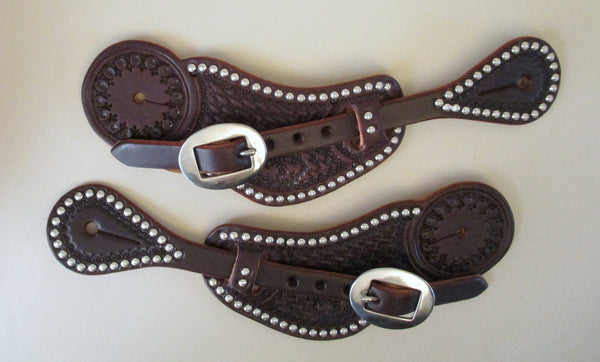 10657 New Handmade RACHEL SCRIBNER Dark Oil Pass Through Spur Straps with Spots