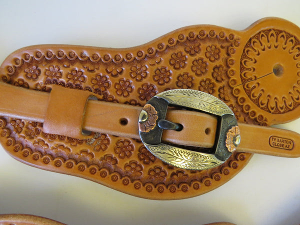 9996 New Handmade TY BARTON Visalia Style Pass Through Spur Straps DAVID HUNT Buckles