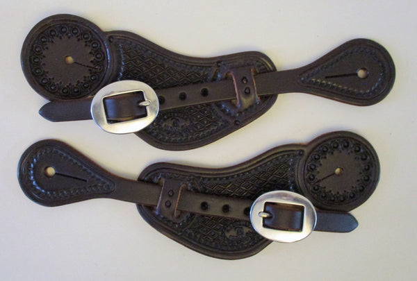 10664 New Handmade RACHEL SCRIBNER Pass Through Diamond Pattern Stamped Spur Straps