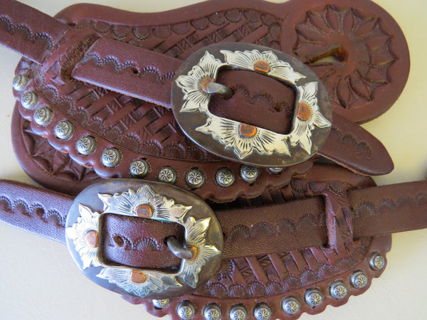 9308  Handmade LEDDY FOSTER Pass Through Spur Straps NANCY VAUGHN Buckles