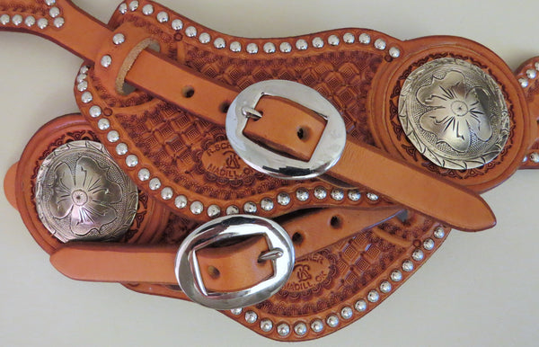 9357 New Handmade RACHEL SCRIBNER Pass Through Spur Straps JUSTIN HOWARD Conchos