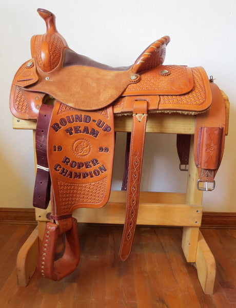 "9377 Handmade 15"" HAMLEY 1999 Roper Champion Pendleton Round up Trophy Saddle"