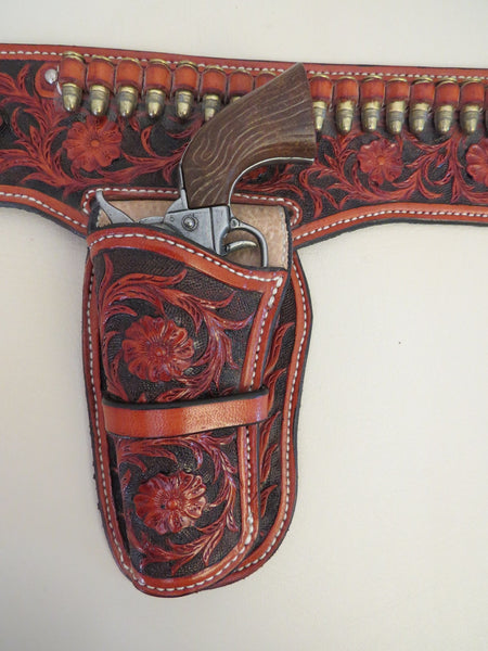 9406 Handmade DALLAS SCRIBNER Miniature Floral Carved Double Gun Holster Rig