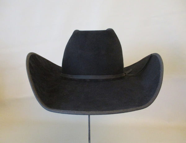 10399 Used Handmade FLINT CUSTOM 20X Black Felt Cowboy Hat Ostrich Sweat Band Size 6 ⅞