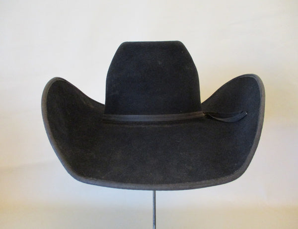 10400 Used Handmade FLINT CUSTOM 10X Black Felt Cowboy Hat Size 6 ⅞