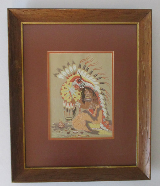 10451 Native American Woody Crumbo Prayer Song Silk Screen Print Framed Under Glass