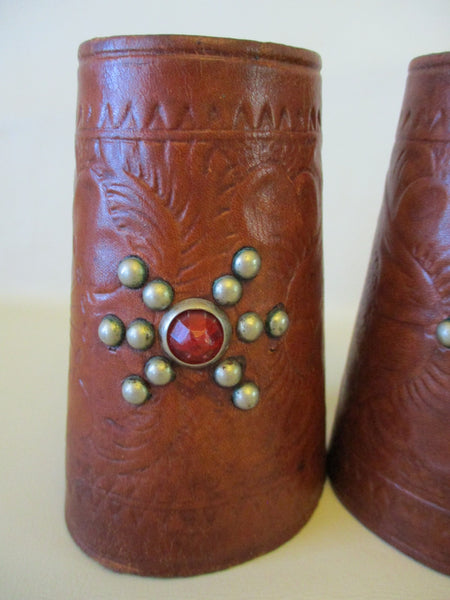 10638 Vintage Handmade Leather Western Cowboy Nickel Spotted Youth Cuffs